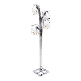 Chrome Italian Modern Four Art Globe Floor Lamp Square Base For Sale