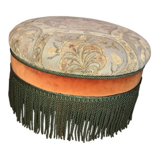 Late 20th Century Vintage Fringed Ottoman For Sale