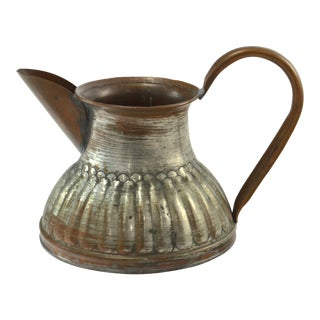 Rustic Tinned Copper Pitcher For Sale