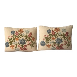 Custom Embroidered Down / Feather Pillows - A Pair For Sale