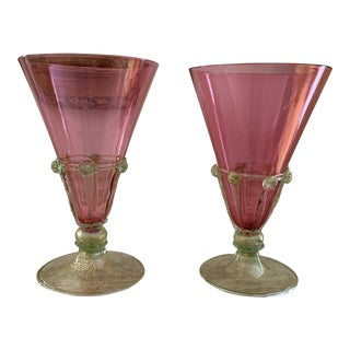 Antique Salviati Venetian Murano Glass Pink and Green Goblets - a Pair For Sale