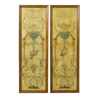 Pair Theodore Alexander Mahogany Framed Decorated Wall Panels For Sale