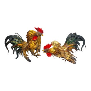 French Tole Fighting Roosters - a Pair For Sale