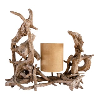 Gold Brushed Driftwood Lamp For Sale