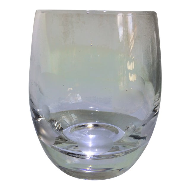 Mid-Century Modern Style Crystal Roly Poly Heavy Bottom Whiskey Glasses With Etched Polka Dots - Set of 6 For Sale