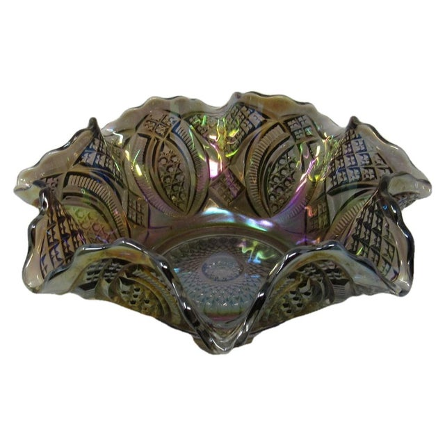 Gray Antique Imperial Smoke Diamond Ring Carnival Glass Bowl For Sale - Image 8 of 8