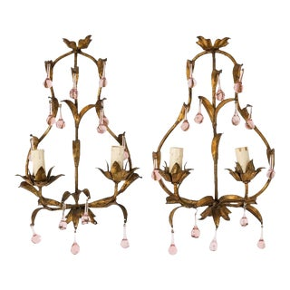 1920s French Pink Crystal Sconces - a Pair For Sale