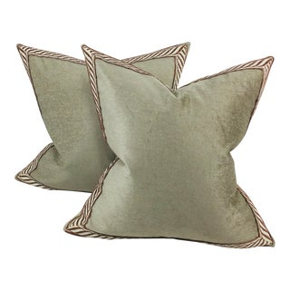 Plush Italian Chenille Banded Pillows- a Pair