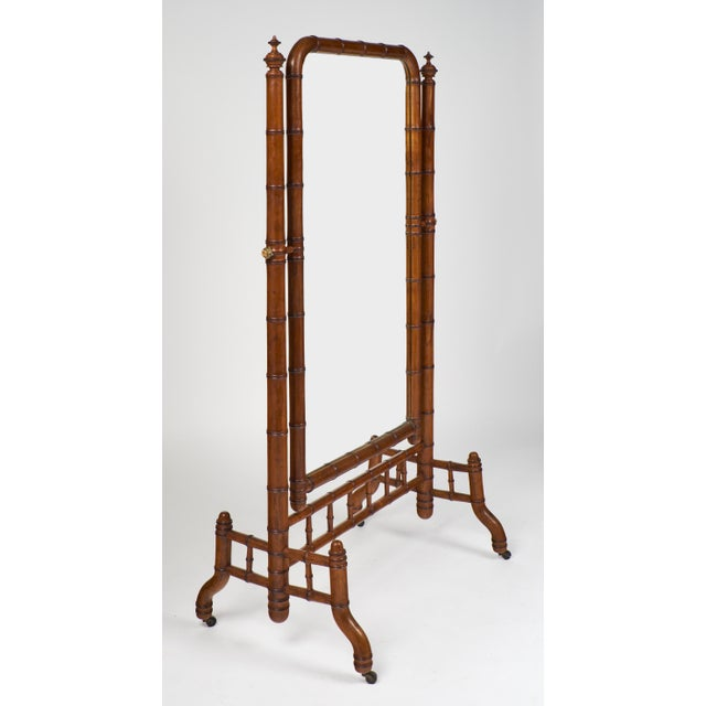 "Napoleon III Faux Bamboo ""Psyche"" Mirror For Sale - Image 4 of 10"