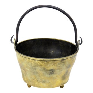 Antique Brass Fireplace Cauldron For Sale