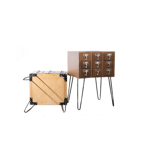 Vintage Hairpin Leg Card Catalogue Side Tables - a Pair For Sale In Chicago - Image 6 of 9