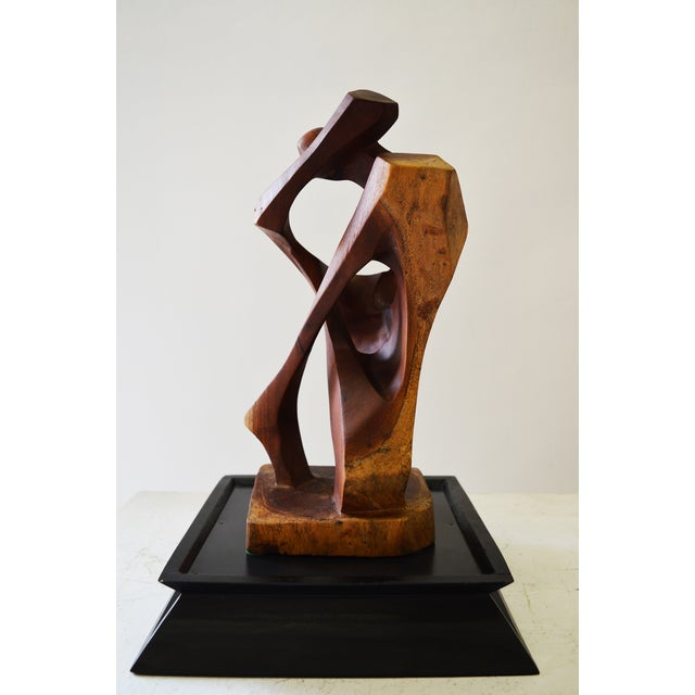 """The Kiss"" Stylized Teak Sculpture of a Couple For Sale - Image 4 of 4"