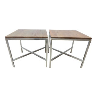 Tomlinson Milo Baughman Mid-Century Walnut Aluminum End Tables - A Pair