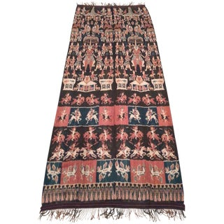 Vintage Ikat Indonesian Brown, Red & Indigo Wall Hanging For Sale