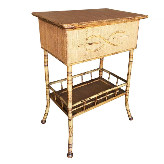 1900 - 1909 Restored Antique Tiger Bamboo Pedestal With Storage Box For Sale - Image 5 of 5