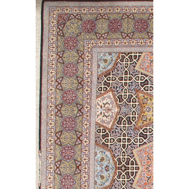 Original Persian Isfahan Signed HAGHIGHI. Handmade Hand-knotted in Isfahan Iran Silk highlighted with korker wool on a...