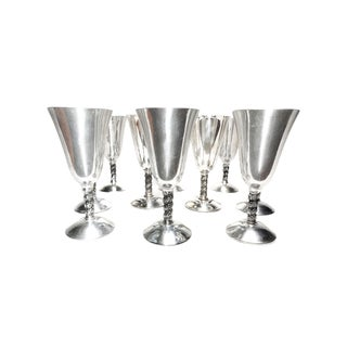 Vintage Mid Century Large Silver Plated Tall, Stemmed Wine Goblets - Set of 10 For Sale