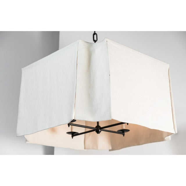 Modern Draped Linen Chandelier by Paul Marra. Casual elegance. Hand-sewn white linen. Oil rubbed bronze (4-light) cluster,...
