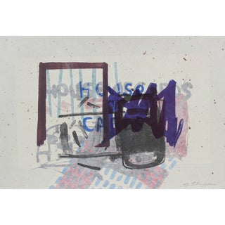 """Gary Lee Shaffer """"House of Cards"""" Abstract Expressionist Lithograph With Indigo, 1999 For Sale"""