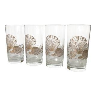 Vintage Gold Shell Glasses - Set of 4