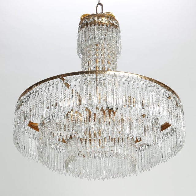 1920s French Hand Cut Crystal and Brass Chandelier For Sale - Image 5 of 7