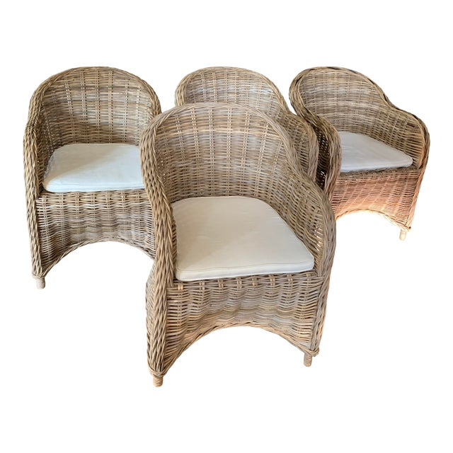 Rattan Valencia Dining Chairs - Set of 4 For Sale