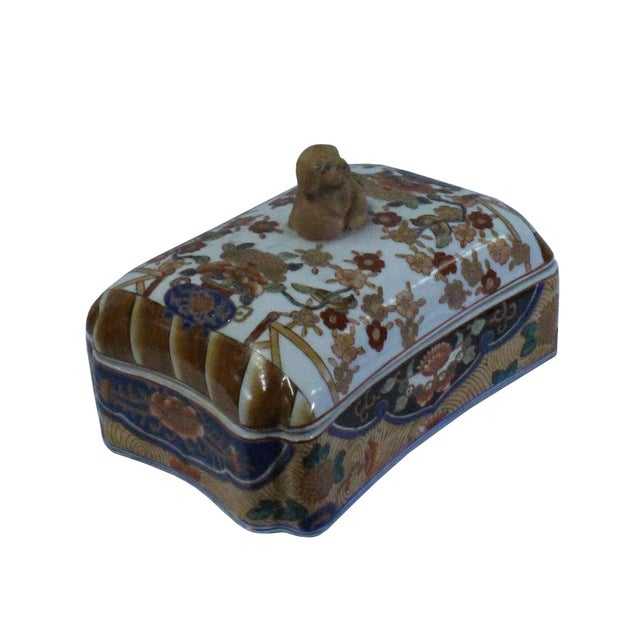 Vintage Oriental Flower Graphic Porcelain Rectangular Box Container For Sale - Image 4 of 7