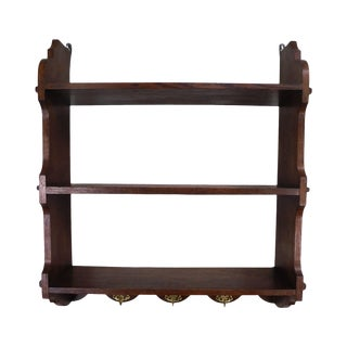 Antique Arts & Crafts Style Oak Hanging Wall Shelf For Sale