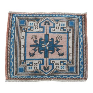 Distressed Low Pile Turkish Yastik Petite Rug Hand Knotted Faded Mat 1′4″ × 1′7″ For Sale