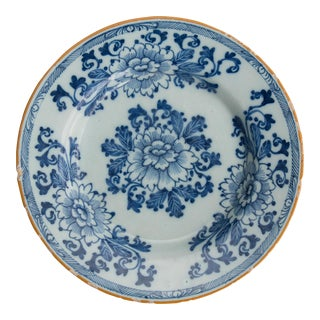 Antique 18th-Century Dutch Delft Floral Plate For Sale