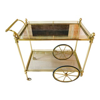 Vintage Brass Bar Cart With Two Tiered Glass For Sale