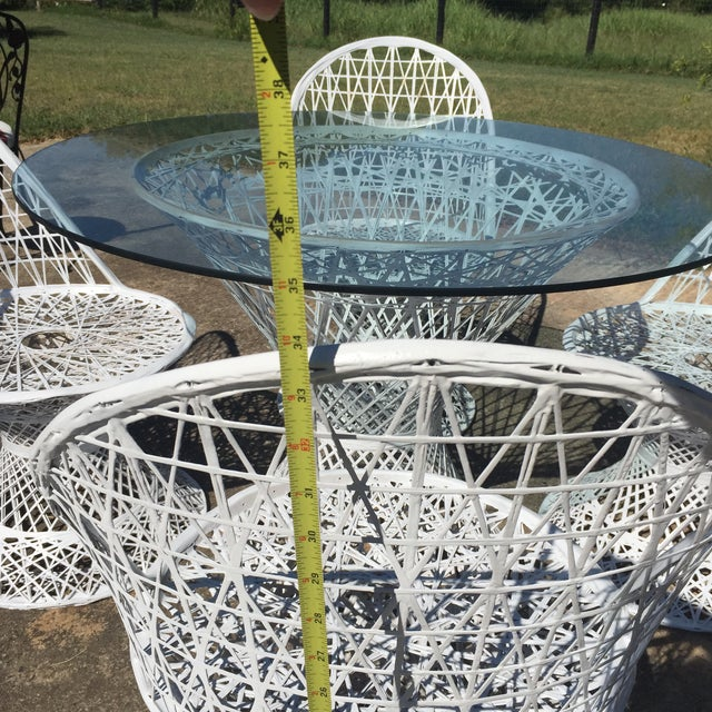 White Mid Century Russell Woodard Spun Fiberglass White Outdoor Dining Set For Sale - Image 8 of 8