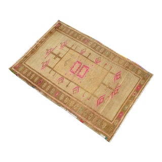 Hand Knotted Bath Mat, Petite Kitchen Rug, Small Oushak Rug Mat - 2′2″ × 3′ For Sale