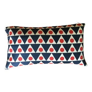 Custom Studio Bon for Schumacher Pennant II Print in Navy and Red Pillow For Sale