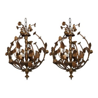 Elegant Pair of Brass Flowers Lights For Sale