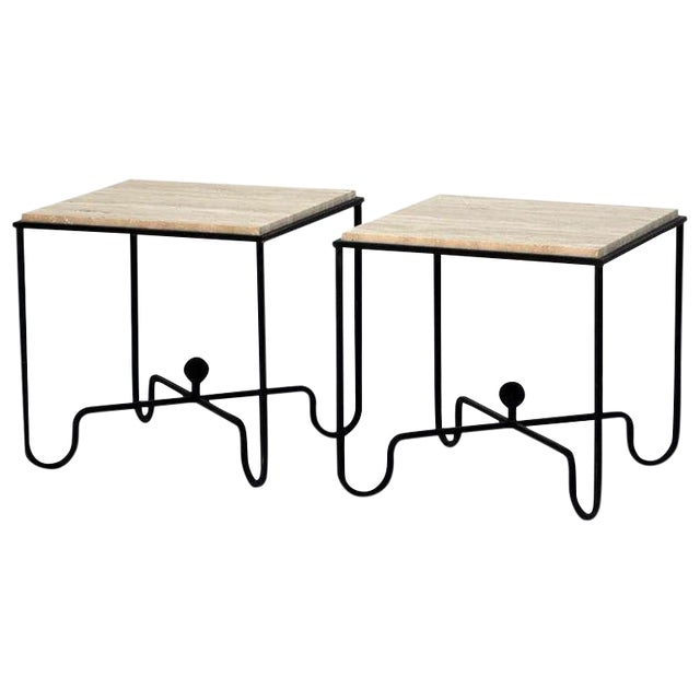 "Contemporary ""Entretoise"" Wrought Iron and Travertine Tables - a Pair For Sale"