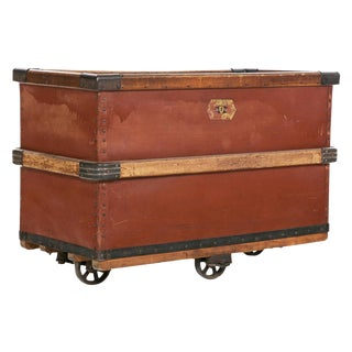 Antique French Leather & Wood Luggage Cart For Sale