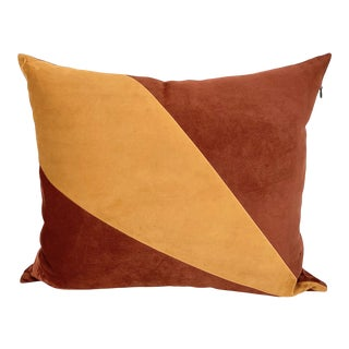Orange & Red Suede Pillow by Tasha Tarno For Sale
