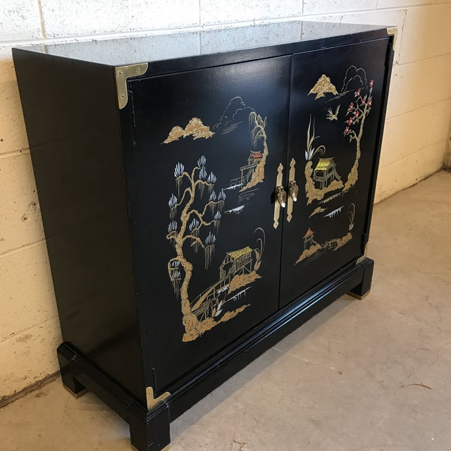Asian Chinoiserie Style Black Lacquered Cabinet - Image 4 of 9