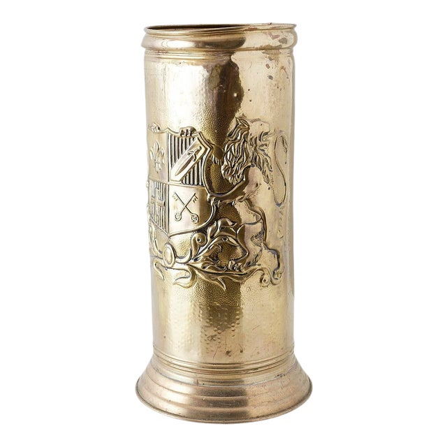 Brass Coat of Arms Umbrella Stand Holder For Sale