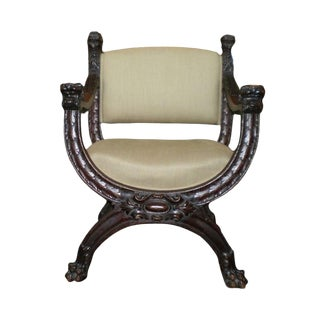 Antique Italian Carved Walnut Renaissance Style Chair For Sale
