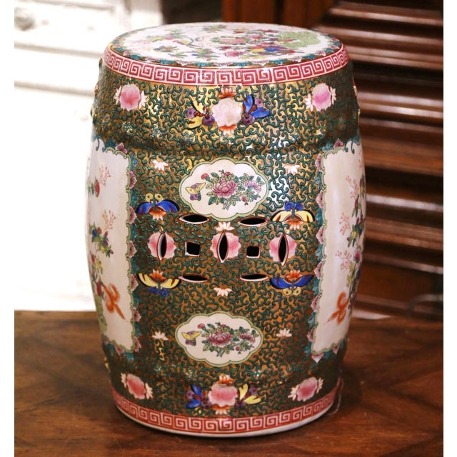 Ceramic Mid-Century Chinese Porcelain Garden Stool With Bird and Floral Decor For Sale - Image 7 of 13