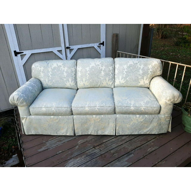 Formal Custom Built Blue on Ivory Silky Damask Upholstered Sofa For Sale - Image 12 of 13