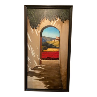 """Tuscan Countryside Canvas Painting, """"Burgundy"""" For Sale"""