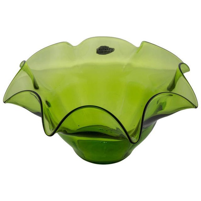 Green Blenko Fluted Fruit Bowl - Image 11 of 11