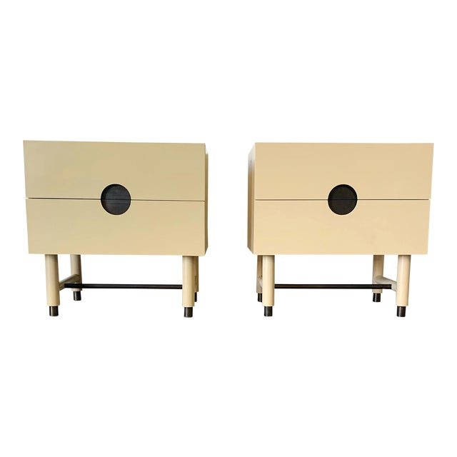 Lawson Fenning Niguel Brass and Lacquered Nightstands - a Pair For Sale
