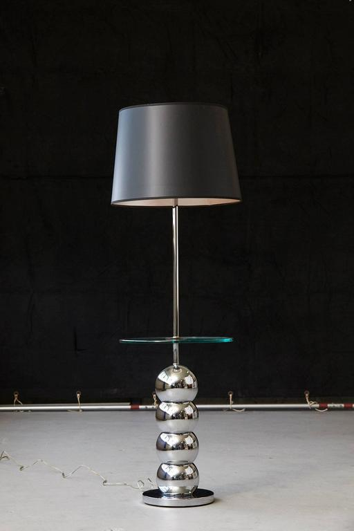 George Kovacs Stacked Chrome Ball Floor Lamp With Integrated Glass Table    Image 5 Of 7