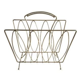 1950s Mid Century Modern Brass Magazine Rack For Sale