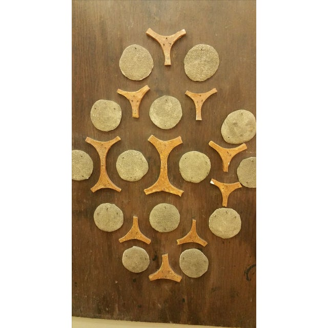 Cement & Ceramic Collage Wooden Wall Hanging - Image 3 of 6