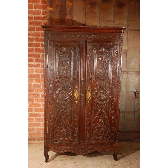 French Antique Louis XV Armoire For Sale - Image 3 of 10
